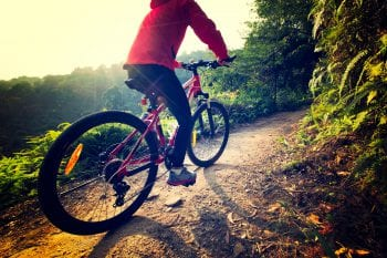 Riding,Mountain,Bike,On,Sunrise,Forest,Trail